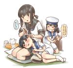 3girls bandaid bandaid_on_face black_hair black_sailor_collar black_skirt blue_sailor_collar bob_cut brown_eyes closed_eyes commentary_request cushion daitou_(kantai_collection) dress ear_cleaning fubuki_(kantai_collection) full_body green_eyes grin hat hiburi_(kantai_collection) high_ponytail kantai_collection karasu_(naoshow357) low_ponytail lying mimikaki multiple_girls on_side pleated_skirt ponytail remodel_(kantai_collection) sailor_collar sailor_dress sailor_hat school_uniform seiza serafuku short_hair short_ponytail short_sleeves sidelocks sitting skirt smile tissue_box translation_request white_dress white_hat white_legwear