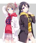 2girls :d alternate_hairstyle arm_up bangs black_coat black_hair blue_eyes blush clenched_hand clothes_writing cousins drawstring grey_background grey_hair hair_ribbon hand_in_pocket hand_up hazuki_(sutasuta) highres hood hood_down hoodie long_hair long_sleeves love_live! love_live!_sunshine!! love_live!_sunshine!!_the_school_idol_movie_over_the_rainbow miniskirt multiple_girls open_mouth pink_ribbon plaid plaid_skirt pleated_skirt ponytail red_hoodie ribbon simple_background skirt smile violet_eyes watanabe_tsuki watanabe_you white_coat yellow_hoodie
