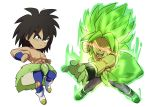 2boys arms_at_sides aura bidarian black_eyes black_hair boots broly_(dragon_ball_super) chibi clenched_hands dragon_ball dragon_ball_super_broly dual_persona expressionless fingernails full_body glowing glowing_eyes green_hair incoming_punch looking_away male_focus multiple_boys nipples no_pupils open_mouth outstretched_arm red_eyes scar shaded_face shirtless short_hair simple_background spiky_hair teeth torn_clothes torn_legwear white_background wristband