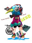 1girl arms_at_sides bike_shorts colorful from_behind full_body helmet highres inkling inkling_(language) legs_apart multicolored multicolored_clothes multicolored_footwear shoes sneakers solo splatoon splatoon_(series) splatoon_2 standing tarai_(silica5) white_background