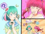 2girls :p ? ahoge antennae blue_eyes blue_hair blush closed_eyes eating fingerless_gloves food food_on_face fuwa_(precure) gloves hagoromo_lala hair_ornament heart heart_background highres holding holding_food hoshina_hikaru long_hair multiple_girls onigiri open_mouth pink_background pink_eyes pink_hair pointy_ears precure prunce_(precure) rice rice_on_face short_hair single_glove speech_bubble spoken_question_mark star star_twinkle_precure surprised tongue tongue_out twintails uokichi_(rururu0906) yuri