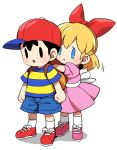 1boy 1girl ape_(company) bag baseball_bat black_hair blonde_hair blue_eyes blush bow child dress hair_bow hal_laboratory_inc. hat kid long_hair mother_(game) mother_2 ness nintendo paula_(mother_2) ribbon shirt short_hair simple_background smile striped striped_shirt suno_(imydream) white_background