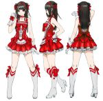 1girl black_hair boots bow character_sheet dress from_behind from_side full_body gloves headband high_heel_boots high_heels multiple_views original red_bow red_dress red_ribbon ribbon sleeveless white_boots white_footwear white_gloves yasuda_akira