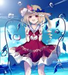 1girl :d adapted_costume bangs beckzawachi blonde_hair blue_bow blue_choker blue_sailor_collar bow brown_hat bubble choker crystal double_v dress eyebrows_visible_through_hair fingernails flandre_scarlet flower hands_up hat hat_bow hat_flower leaf long_hair looking_at_viewer mob_cap nail_polish open_mouth orange_flower pink_flower red_dress red_eyes red_nails sailor_collar sailor_dress side_ponytail smile solo sun_hat teeth touhou v water white_flower wings wristband yellow_flower