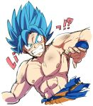 !? 1boy arm_at_side bidarian blue_eyes blue_hair clenched_teeth close-up dirty dirty_face dragon_ball dragon_ball_super dragon_ball_super_broly dragonball_z dutch_angle fingernails looking_at_viewer male_focus nervous nipples outstretched_arm shirtless short_hair simple_background son_gokuu spiky_hair super_saiyan_blue sweatdrop teeth translation_request upper_body white_background