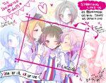 3boys 3girls akizuki_ryou announcement_celebration antenna_hair brown_eyes brown_hair dearly_stars f-lags_(idolmaster) hidaka_ai idol idolmaster idolmaster_(classic) idolmaster_dearly_stars idolmaster_side-m kabuto_daigo kikuchi_makoto looking_at_viewer mizushima_saki mizutani_eri multiple_boys multiple_girls song_name tsukumo_kazuki yuzuki_ryouta