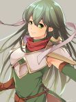 1girl ataka_takeru breastplate closed_mouth elbow_gloves fire_emblem fire_emblem:_monshou_no_nazo gloves green_eyes green_gloves green_hair grey_background headband long_hair nintendo paola shoulder_armor simple_background smile solo upper_body white_headband