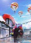 1girl aircraft black_shorts blimp blue_sky bubble bubble_blowing building clouds dark_skin day dirigible food full_body grey_eyes hair_ornament highres hot_air_balloon octarian octoling outdoors pink_umbrella plant ponytail poster redhead short_hair shorts signature sky solo sorella_brella_(splatoon) splatoon splatoon_(series) splatoon_2 suction_cups takoyaki tarai_(silica5) umbrella