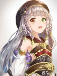 1girl bangs bare_shoulders beret black_hat blunt_bangs blush braid breasts brown_eyes detached_sleeves eyeliner granblue_fantasy green_eyes grey_hair hair_ornament hat heterochromia long_hair looking_at_viewer makeup open_mouth pholia pnt_(ddnu4555) short_eyebrows small_breasts smile solo