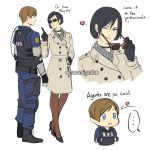 ... 1boy 1girl ;d ada_wong black_hair blue_eyes blush brown_hair bulletproof_vest choker comic english_text fingerless_gloves gloves heart high_heels highres leon_s_kennedy lipstick long_sleeves makeup mascara naomig one_eye_closed open_mouth pantyhose police police_uniform policeman resident_evil resident_evil_2 scarf short_hair simple_background smile sunglasses sweatdrop text_focus thought_bubble trench_coat uniform white_background