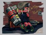 1girl beret blue_coat boots brick_wall closed_mouth coat cross-laced_footwear frown full_body graffiti green_eyes green_footwear green_hair green_hat hand_up hat highres hydra_splatling_(splatoon) lace-up_boots light_green_hair long_sleeves looking_at_viewer octarian octoling paint_splatter pigeon-toed ponytail signature sitting solo splatoon splatoon_(series) splatoon_2 tarai_(silica5) tentacle_hair