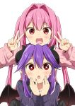 2girls :d :o chikanoko curled_horns demon_horns demon_wings double_v eyebrows_visible_through_hair hair_between_eyes hair_intakes highres horns long_hair looking_at_viewer multiple_girls naito_mare open_mouth original pink_hair purple_hair ragho_no_erika red_eyes simple_background smile tsugou_makina twintails v very_long_hair white_background wings