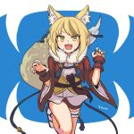 1girl animal_ears blonde_hair brown_hair fang fire_emblem fire_emblem_if fox_ears fox_tail fur_trim japanese_clothes kinu_(fire_emblem_if) leg_up miuta multicolored_hair nintendo open_mouth short_hair solo streaked_hair tail wide_sleeves yellow_eyes