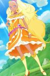 absurdres amamiya_erena blonde_hair boots cure_soleil highres long_hair precure screencap star_twinkle_precure stitched tan thigh-highs thigh_boots third-party_edit violet_eyes
