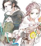 1boy 1girl blonde_hair book braid braided_ponytail brown_hair cape cyrus_(octopath_traveler) flower fur_trim gloves h'aanit_(octopath_traveler) highres jewelry long_hair looking_at_viewer necklace octopath_traveler ponytail rico_ot short_hair simple_background single_braid