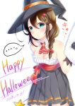 ... 1girl 2016 alternate_costume ascot black_gloves black_hat black_skirt blue_eyes blush bow braid breasts brown_hair choker cleavage dated eyebrows_visible_through_hair frilled_shirt frills gloves hair_between_eyes hair_bow hair_ornament hair_over_shoulder halloween_costume happy_halloween hat high-waist_skirt highres holding kantai_collection leaning_forward long_hair mashiro_aa medium_breasts miniskirt pleated_skirt red_bow red_neckwear shigure_(kantai_collection) shirt simple_background single_braid skirt sleeveless sleeveless_shirt solo speech_bubble strapless_shirt white_background white_shirt witch_hat