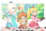blonde_hair blue_eyes brown_hair chiko_(mario) cooking crown dress earrings elbow_gloves flipped_hair flower_earrings food gloves green_eyes hair_over_one_eye jewelry long_hair mario_(series) nintendo omochi_(glassheart_0u0) ponytail princess_daisy princess_peach rosetta_(mario) smile star star_earrings super_mario_bros. super_mario_galaxy valentine yellow_dress