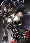 1girl arm_under_breasts bangs bare_shoulders black_dress black_hair breasts bridal_gauntlets cleavage closed_mouth detached_collar detached_sleeves dress fate/apocrypha fate/grand_order fate_(series) fur_trim large_breasts long_dress long_hair looking_at_viewer looking_to_the_side pointy_ears semiramis_(fate) very_long_hair wokaoriwo yellow_eyes