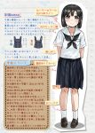 1girl arms_behind_back black_hair black_sailor_collar black_skirt blue_eyes bob_cut brown_footwear daitou_(kantai_collection) disconnected_mouth grin high_ponytail highres kantai_collection loafers nukoyarou pleated_skirt sailor_collar shoes short_hair sidelocks skirt smile socks solo standing translation_request white_legwear