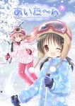 2girls :d ;d bangs beanie blue_gloves blue_jacket blue_sky blush brown_eyes brown_hair brown_hat clouds commentary_request cover cover_page day eyebrows_visible_through_hair gloves goggles goggles_on_head hair_between_eyes hair_ornament hairclip hat jacket light_brown_hair long_hair long_sleeves low_twintails multiple_girls nanase_miori one_eye_closed open_mouth original outdoors pants pink_gloves pink_jacket pink_pants pom_pom_(clothes) red_eyes red_hat sidelocks ski_goggles skiing sky smile snow tree twintails very_long_hair