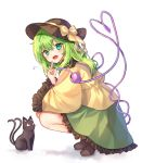 1girl :o black_cat blush brown_footwear brown_hat cat cheunes frilled_shirt frilled_skirt frilled_sleeves frills full_body green_eyes green_hair green_skirt hand_up hat hat_ribbon head_tilt heart heart_of_string highres index_finger_raised kaenbyou_rin kaenbyou_rin_(cat) komeiji_koishi long_hair long_sleeves looking_at_another looking_at_viewer looking_back multiple_tails musical_note open_mouth red_eyes ribbon shadow shirt shoes simple_background skirt squatting tail third_eye touhou two_tails white_background wide_sleeves yellow_ribbon yellow_shirt