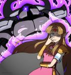 1girl 1other armor aura bangle blue_eyes bracelet brown_hair cape circlet dress glowing glowing_eye helmet horned_helmet jewelry jojo_no_kimyou_na_bouken jojo_pose long_hair looking_at_viewer necklace nintendo one_eye_closed phantom_(the_legend_of_zelda) phiphi-au-thon pink_dress pointy_ears pose princess_zelda spiral stand_(jojo) super_smash_bros. the_legend_of_zelda