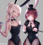 2girls ;d alternate_hairstyle animal_ears bangs bare_shoulders black_bow black_hat black_jacket black_leotard black_neckwear blonde_hair blunt_bangs blush bow bowtie breasts brown_eyes bunny_hair_ornament bunny_tail bunnysuit choker cleavage collarbone covered_navel danganronpa dark_skin eyebrows_visible_through_hair fake_animal_ears fishnet_pantyhose fishnets grey_background hair_ornament hat head_tilt high_ponytail holding holding_plate jacket leotard long_sleeves looking_at_viewer looking_away mini_hat multiple_girls necktie new_danganronpa_v3 one_eye_closed open_clothes open_jacket open_mouth pantyhose plate redhead short_hair sidelocks simple_background sleeveless small_breasts smile standing strapless strapless_leotard tail thigh_gap wrist_cuffs yonaga_angie yumeno_himiko z-epto_(chat-noir86)