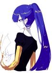 1other absurdres alternate_hairstyle androgynous artist_name blue_eyes blue_hair commentary cropped_torso from_behind gem_uniform_(houseki_no_kuni) golden_arms highres houseki_no_kuni lapis_lazuli_(houseki_no_kuni) long_hair long_ponytail paper ponytail profile puffy_short_sleeves puffy_sleeves sheya short_sleeves signature simple_background smile solo spoilers symbol_commentary upper_body white_background