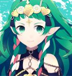 1girl braid closed_mouth crml_orng fire_emblem fire_emblem:_fuukasetsugetsu green_eyes green_hair highres long_hair mamkute multicolored_hair nintendo pointy_ears portrait smile solo sothis tiara twin_braids twitter_username