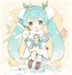 1girl :d ahoge animal bangs blue_hairband blush brown_footwear capelet chibi commentary_request dress eyebrows_visible_through_hair flower fur-trimmed_boots fur-trimmed_capelet fur_trim green_eyes green_hair green_ribbon hair_flower hair_ornament hairband hatsune_miku holding holding_flower lf long_hair neck_ribbon open_mouth polka_dot polka_dot_background rabbit ribbon smile snow twintails very_long_hair vocaloid white_capelet white_dress white_flower yuki_miku yukine_(vocaloid)