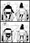 1girl 2boys bag black_border book border classroom comic desk formal from_behind gakuran gift_bag greyscale hetero highres kotomaru monochrome multiple_boys original sailor_collar school_bag school_uniform serafuku silent_comic suit teacher valentine
