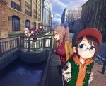 5girls architecture bangs bare_tree baseball_cap black_hair black_hoodie black_jacket black_skirt blue_eyes blue_ribbon blue_sky braid breasts brown_eyes brown_hair building buttons canal car casual city cityscape clouds coat day drawstring glasses green_jacket ground_vehicle hair_ribbon hands_in_pockets hat hedge_(plant) highres holding holding_phone hood hood_down hoodie idolmaster idolmaster_shiny_colors jacket lamppost large_breasts long_sleeves mitsumine_mashiro motor_vehicle multiple_girls open_clothes open_coat open_jacket orange_hoodie outdoors pants phone ponytail profile purple_hair railing red_scarf red_sweater ribbed_sweater ribbon road round_eyewear scarf shamonabe shirase_sakuya sidelocks sidewalk silver_hair skirt sky standing sweater taking_picture tanaka_mamimi tree tsukioka_kogane turtleneck turtleneck_sweater twin_braids twintails violet_eyes water white_coat white_pants wide_shot window wing_collar yellow_coat yellow_eyes yuukoku_kiriko
