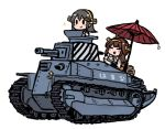 2girls ahoge brown_hair character_name chibi closed_eyes cup double_bun grey_hair ground_vehicle hair_ornament hairclip haruna_(kantai_collection) headgear holding holding_cup holding_saucer kantai_collection kongou_(kantai_collection) long_hair military military_vehicle motor_vehicle multiple_girls nontraditional_miko oriental_umbrella picnic_basket simple_background sparkle tank teacup terrajin type_89_i-gou umbrella white_background