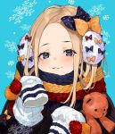 1girl abigail_williams_(fate/grand_order) black_bow blonde_hair blue_background blue_eyes bow commentary_request fate/grand_order fate_(series) hair_bow highres holding holding_stuffed_animal long_hair looking_at_viewer orange_bow parted_lips polka_dot polka_dot_bow scarf sleeves_past_fingers sleeves_past_wrists snowflakes solo stuffed_animal stuffed_toy teddy_bear upper_body yuu_(higashi_no_penguin)