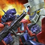 1boy 70s 80s autobot battle black_hair blue_eyes cannon crossover duel fighting headgear holding holding_weapon igunuk insignia kabuto_kouji machine machinery mazinger_z mazinger_z_(mecha) mecha official_art oldschool optimus_prime pilder pilot_suit robot science_fiction sideburns super_robot transformers weapon