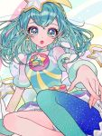 1girl :o aqua_legwear blue_eyes blue_hair blue_legwear commentary_request cure_milky don_(macaron_panda13) earrings gradient gradient_legwear hagoromo_lala heart heart-shaped_pupils highres jewelry legs looking_at_viewer magical_girl multicolored multicolored_clothes multicolored_legwear open_mouth precure short_hair single_thighhigh solo star star_earrings star_twinkle_precure symbol-shaped_pupils thigh-highs