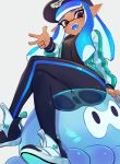 1girl :d arm_at_side baseball_cap black_pants blue_hair dark_skin domino_mask fangs hand_up hat highres inkling jacket jellyfish jellyfish_(splatoon) jtveemo long_hair long_sleeves looking_at_viewer mask open_clothes open_jacket open_mouth pants pink_eyes pointy_ears see-through shoes simple_background single_horizontal_stripe sitting smile solo splatoon splatoon_(series) splatoon_2 teeth tentacle_hair white_background