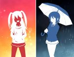 cardigan hand_on_hip hood hoodie long_hair necktie nemoto_hina outline rain smile tamura_yuri two_side_up umbrella watashi_ga_motenai_no_wa_dou_kangaetemo_omaera_ga_warui!