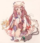 1girl bangs blue_bow blue_ribbon blush book bow cat cat_food chen chen_(cat) collared_dress crescent crescent_hair_ornament dress frilled_dress frills hair_bow hair_ornament hat kaenbyou_rin kaenbyou_rin_(cat) long_hair long_sleeves mob_cap patchouli_knowledge petting purple_hair red_bow red_ribbon ribbon shameimaru_aya sitting smile striped striped_dress svveetberry touhou very_long_hair violet_eyes yakumo_ran