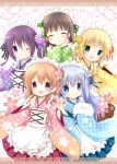 5girls :d ;) angora_rabbit animal apron aqua_eyes black_hair blonde_hair blue_kimono blue_ribbon blue_skirt blush bow brown_hair brown_skirt checkered checkered_bow checkered_kimono closed_eyes commentary_request copyright_name english_text flower gochuumon_wa_usagi_desu_ka? green_bow green_eyes green_kimono green_ribbon hair_bow hair_flower hair_ornament hand_holding hands_together headdress holding holding_animal hoto_cocoa index_finger_raised japanese_clothes kafuu_chino kimono kirima_sharo light_blue_hair long_sleeves maid_headdress matching_outfit multiple_girls nanase_miori one_eye_closed open_mouth pink_flower pink_kimono pink_skirt purple_flower purple_hair purple_kimono purple_ribbon purple_rose rabbit red_ribbon ribbon rose skirt smile tedeza_rize tippy_(gochiusa) title ujimatsu_chiya violet_eyes wa_maid white_apron yellow_flower yellow_kimono