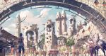animal arch architecture armor artist_name backpack bag blue_sky building cart city cityscape clouds cloudy_sky commentary_request creature crowd day dragon fantasy horse multiple_boys multiple_girls noba outdoors pixiv_fantasia pixiv_fantasia_last_saga robe scenery sky sunlight totem_pole tower tree walking wide_shot window