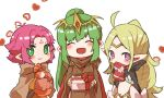 3girls :3 ahoge black_gloves blonde_hair box cape chiki circlet cloak closed_eyes closed_mouth fa facial_mark fire_emblem fire_emblem:_fuuin_no_tsurugi fire_emblem:_kakusei fire_emblem:_monshou_no_nazo fire_emblem_heroes forehead_mark gift gift_bag gift_box gloves green_eyes green_hair heart long_hair long_sleeves mamkute multiple_girls nintendo nono_(fire_emblem) open_mouth pointy_ears ponytail purple_hair short_hair shunrai simple_background tiara violet_eyes white_background