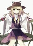 1girl bangs beckzawachi blonde_hair bracelet brown_hat closed_mouth eyebrows_visible_through_hair hair_between_eyes hands_up hat highres holding holding_hair jewelry legs_apart lily_pad long_hair long_sleeves looking_at_viewer moriya_suwako orange_eyes purple_skirt purple_vest shirt simple_background sitting skirt solo touhou vest white_background white_shirt wide_sleeves