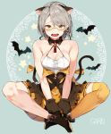 1girl absurdres animal_ears armpit_crease artist_name bare_arms bare_legs bare_shoulders bat black_footwear breasts brown_eyes brown_gloves cat_ears cleavage collarbone earrings fangs garin girls_frontline glasses gloves grey_hair halterneck highres indian_style jewelry kemonomimi_mode light_particles medium_breasts miniskirt open_mouth pleated_skirt semi-rimless_eyewear shirt shoes short_hair sidelocks single_thighhigh sitting skirt sleeveless sleeveless_shirt solo star thigh-highs vector_(girls_frontline) white_shirt yellow-framed_eyewear yellow_legwear yellow_skirt