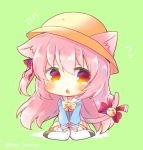 1girl animal_ear_fluff animal_ears azur_lane bangs bell black_footwear blue_shirt blush bow cat_ears cat_girl cat_tail chibi commentary_request ears_through_headwear eyebrows_visible_through_hair flying_sweatdrops full_body green_background hair_between_eyes hat jingle_bell kindergarten_uniform kisaragi_(azur_lane) kouu_hiyoyo long_hair long_sleeves parted_lips pink_hair pleated_skirt red_bow red_eyes sailor_collar school_hat shirt sitting skirt sleeves_past_wrists solo tail tail_bell tail_bow tail_raised thigh-highs twitter_username very_long_hair wariza white_legwear white_sailor_collar yellow_bow yellow_hat yellow_skirt