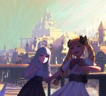 2girls alternate_costume black_bow blonde_hair bow castle closed_eyes day dress elise_(fire_emblem_if) fakewaffle fire_emblem fire_emblem_heroes fire_emblem_if grey_hair hair_bow hand_holding long_hair multicolored_hair multiple_girls nintendo open_mouth outdoors pink_bow purple_hair red_eyes short_sleeves sky twintails veronica_(fire_emblem)