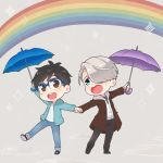 2boys :d black_hair blue-framed_eyewear blue_eyes brown_eyes coat denim glasses hair_over_one_eye hand_holding heart-shaped_mouth hood hoodie jeans katsuki_yuuri male_focus multiple_boys open_mouth pants rainbow ruei_(chicking) silver_hair smile sparkle standing standing_on_one_leg umbrella viktor_nikiforov yuri!!!_on_ice