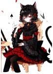1girl absurdres animal_ear_fluff animal_ears artist_name bangs black_hair black_hairband black_legwear black_shirt bow brooch bug butterfly cat_ears cat_tail chair cropped_legs cup earrings eyebrows_visible_through_hair eyelashes flower frilled_sleeves frills gothic_lolita hair_between_eyes hairband hand_up high-waist_skirt highres holding holding_cup insect jewelry juliet_sleeves lolita_fashion lolita_hairband long_sleeves looking_at_viewer nail_polish one_eye_closed original pantyhose petals petticoat puffy_sleeves red_bow red_eyes red_flower red_nails red_rose red_skirt rose rose_petals sheya shirt short_hair signature simple_background sitting skirt solo spade_(shape) table tail teacup white_background wide_sleeves