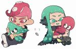 1boy 1girl :d animal aqua_eyes aqua_hair bike_shorts black_cape black_footwear blush boots cape chibi domino_mask fang headgear inkling kirikuchi_riku long_hair mask mohawk no_nose octarian octoling octopus open_mouth pink_eyes pink_hair shoes short_hair smile splatoon splatoon_(series) splatoon_2 splatoon_2:_octo_expansion squid squidbeak_splatoon suction_cups tentacle_hair torn_cape torn_clothes wristband