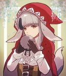 1girl animal_ears black_hair closed_mouth fire_emblem fire_emblem_if gloves grey_hair highres holding hood hood_up kiriya_(552260) long_sleeves multicolored_hair nintendo red_eyes solo streaked_hair tail twitter_username upper_body velour_(fire_emblem_if) wolf_ears wolf_tail
